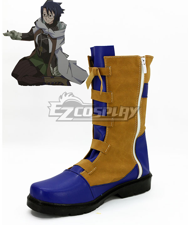 COSS0714 Log Horizon Shiroe Blue and Brown Shoes Cosplay Boots