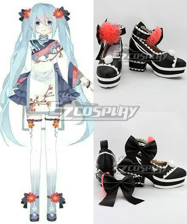 COSS0715 Vocaloid Hatsune Miku Black Cosplay Shoes