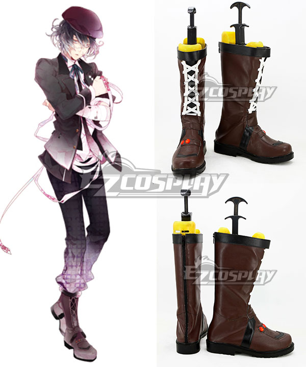 COSS0717 Diabolik Lovers More Blood Mukami Azusa Brown Shoes Cosplay Boots
