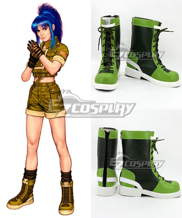 COSS0720 The King of Fighters'96 Leona Heidern Green and Black Shoes Cosplay Boots