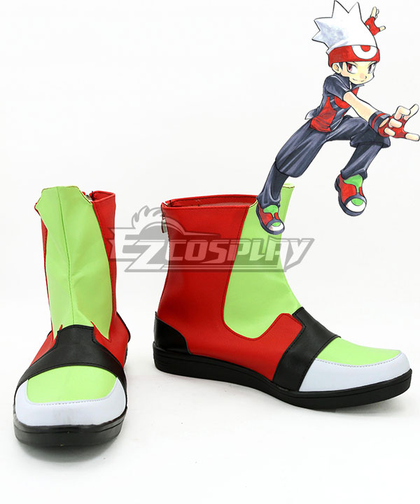COSS0721 Pokemon Pocket Monster Advanced Ruby Green And Red Cosplay Shoes