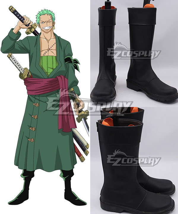 COSS0734 One Piece Roronoa Zoro Black Shoes Cosplay Boots