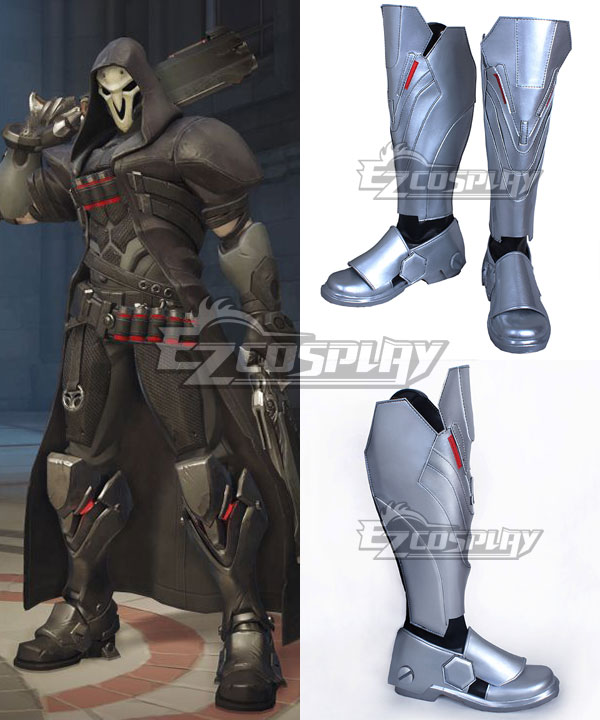 COSS0736 Overwatch OW Reaper Gabriel Reyes Black Shoes Cosplay Boots