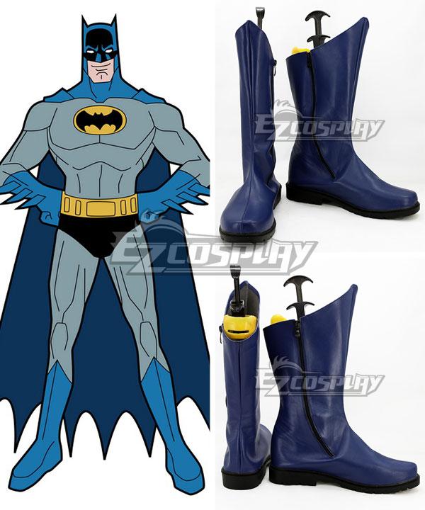 COSS0738 DC Comics Batman Bruce Wayne Blue Shoes Cosplay Boots
