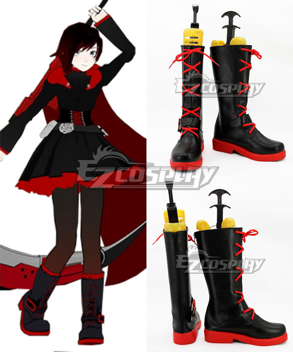 COSS0761 RWBY Leader of Team RWBY Ruby Rose High Caliber Sniper Scythe HCSS Crescent Rose Black Shoes Cosplay Boots