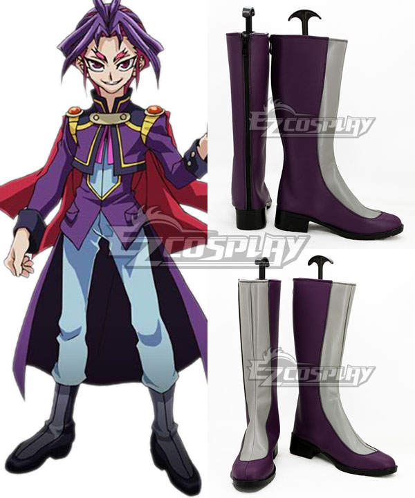 COSS0754 Yu-Gi-Oh! Yugioh ARC-V Joeri Yuri Grey And Purple Shoes Cosplay Boots