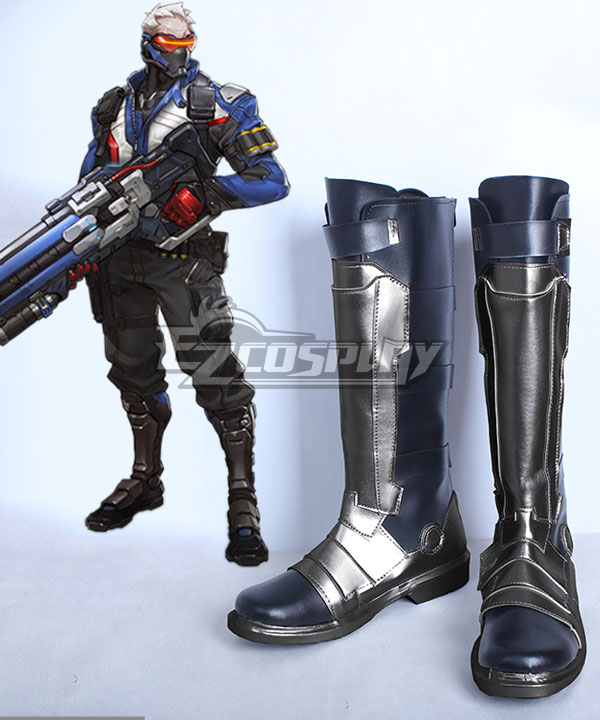 Overwatch OW Soldier 76 John Jack Morrison Black Silver Shoes Cosplay Boots COSS0763