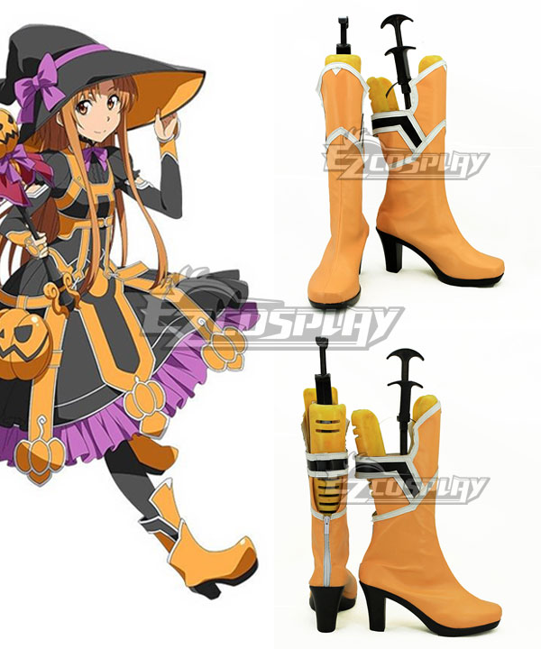 Sword Art Online Yuuki Asuna Yuki Asuna Orange Shoes Cosplay Boots None