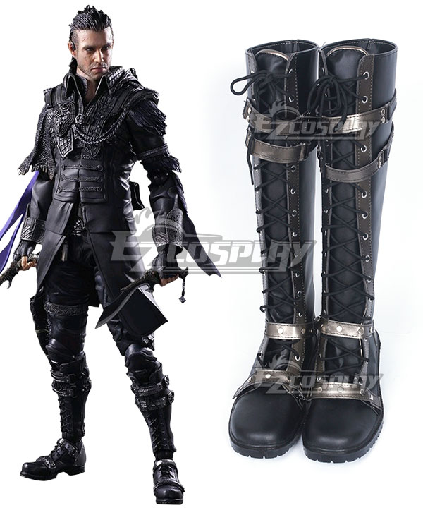 Kingsglaive: Final Fantasy XV FF15 Nyx Ulric Black Shoes Cosplay Boots COSS0994