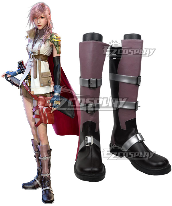 Final Fantasy XIII FF13 Lightning Purple Shoes Cosplay Boots - Starter Edition COSS1002