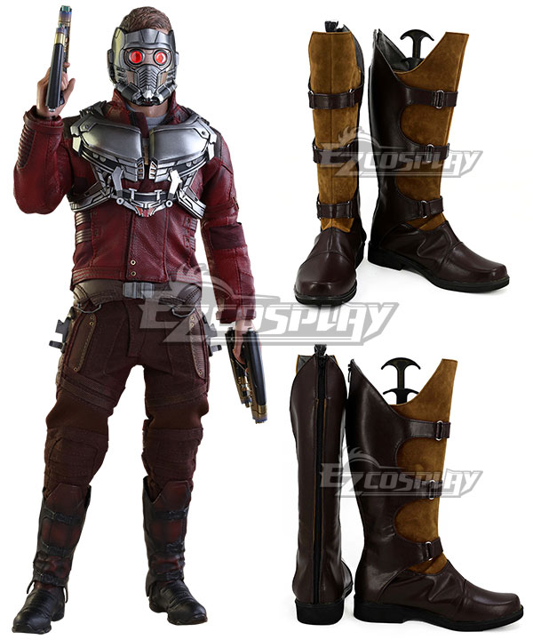 Marvel Guardians of the Galaxy Star-Lord Peter Jason Quill Brown Shoes Cosplay Boots None