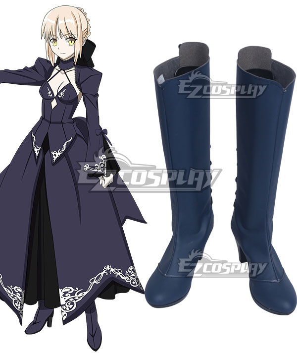 Fate Stay Night Artoria Pendragon Saber Lily Alter Deep Blue Shoes Cosplay Boots COSS1055