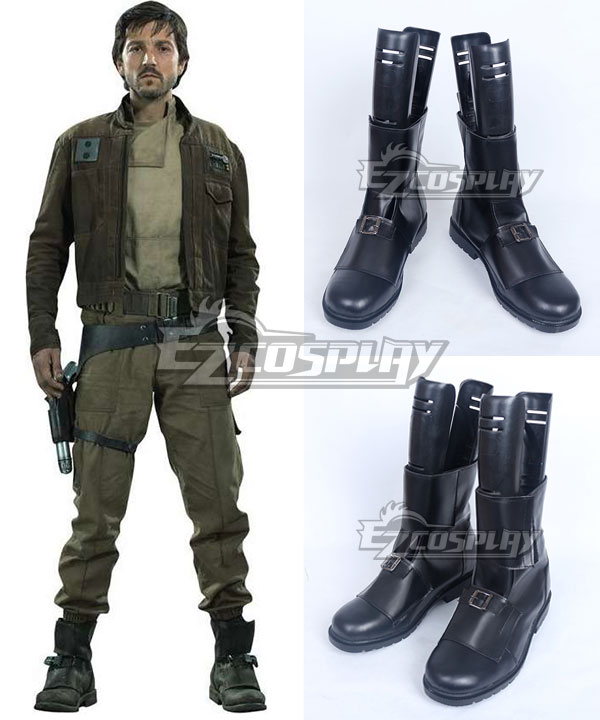 Rogue One A Star Wars Story Captain Cassian Andor Black Shoes Cosplay Boots None