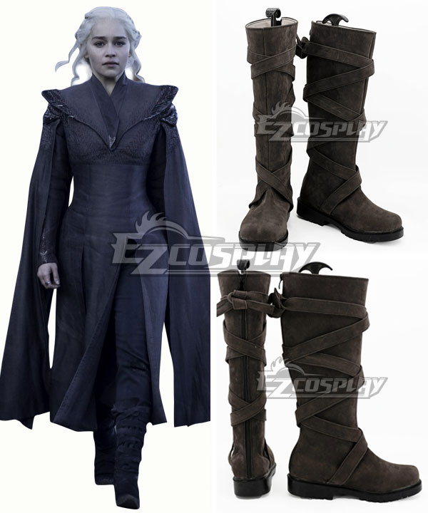 Game of Thrones Season 7 Daenerys Targaryen Brown Shoes Cosplay Boots None