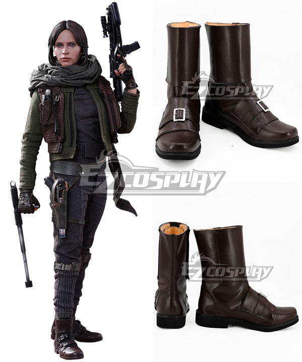 Rogue One: A Star Wars Story Jyn Erso Brown Shoes Cosplay Boots None