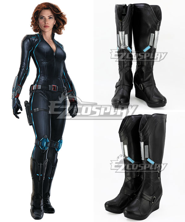 Marvel's The Avengers 2 Age of Ultron Black Widow Natasha Romanoff Black Shoes Cosplay Boots None