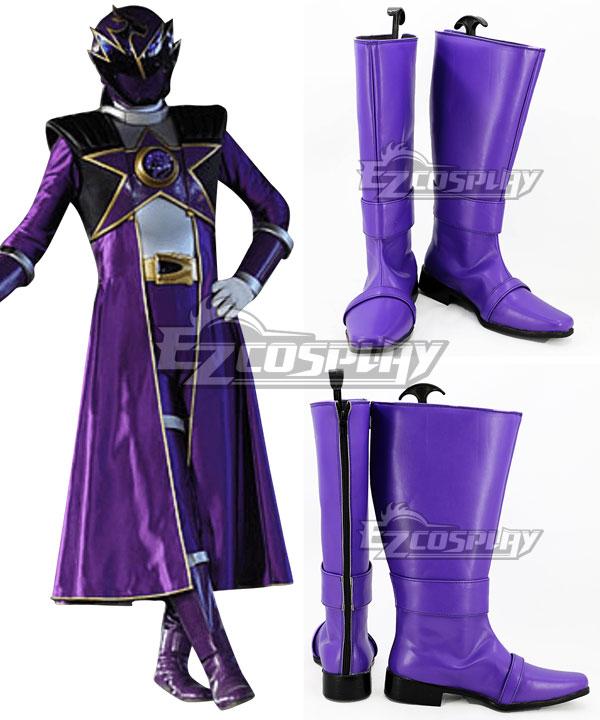 Uchuu Sentai Kyuranger Ryu Commander Shou Ronpo Purple Shoes Cosplay Boots COSS1439