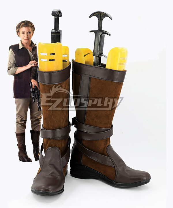 Star Wars Episode 7 The Force Awakens General Leia Organa Brown Shoes Cosplay Boots None