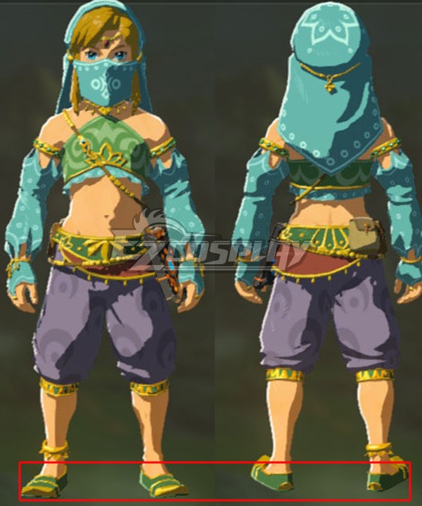 The Legend of Zelda: Breath of the Wild Female Zelda Link Gerudo Outfit Green Cosplay Shoes None
