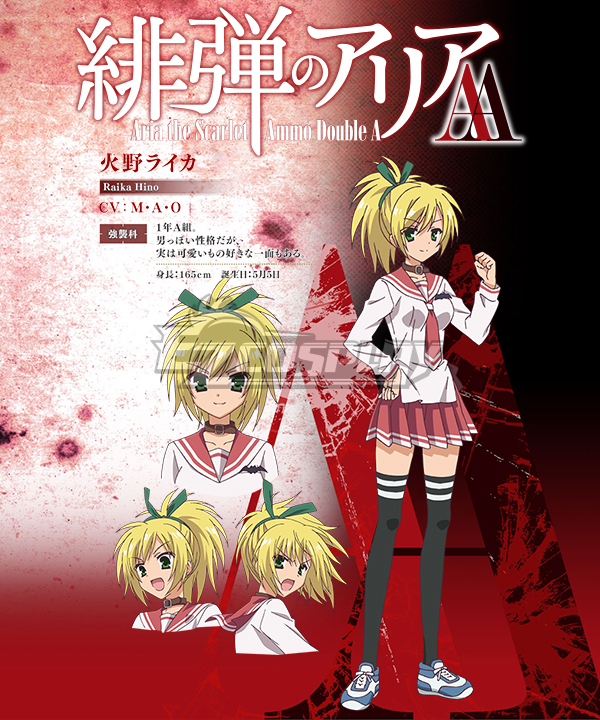 Aria the Scarlet Ammo AA Hidan no Aria Raika Hino Cosplay Costume