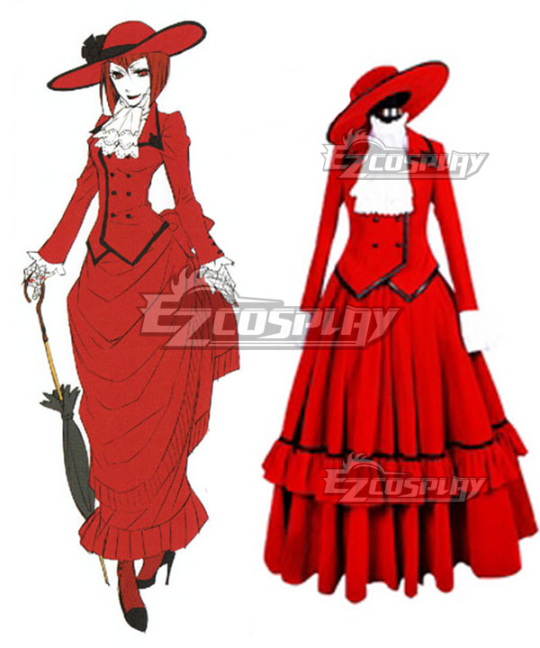 Victorian Dresses | Victorian Ballgowns | Victorian Clothing Black Butler Angelina Dulles madame red Cosplay Costume - Premuim Edition $86.99 AT vintagedancer.com