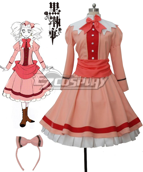 Black Butler�? Kuroshitsuji Elizabeth Midford Liz Orange Lolita Long Dress Cosplay Costume