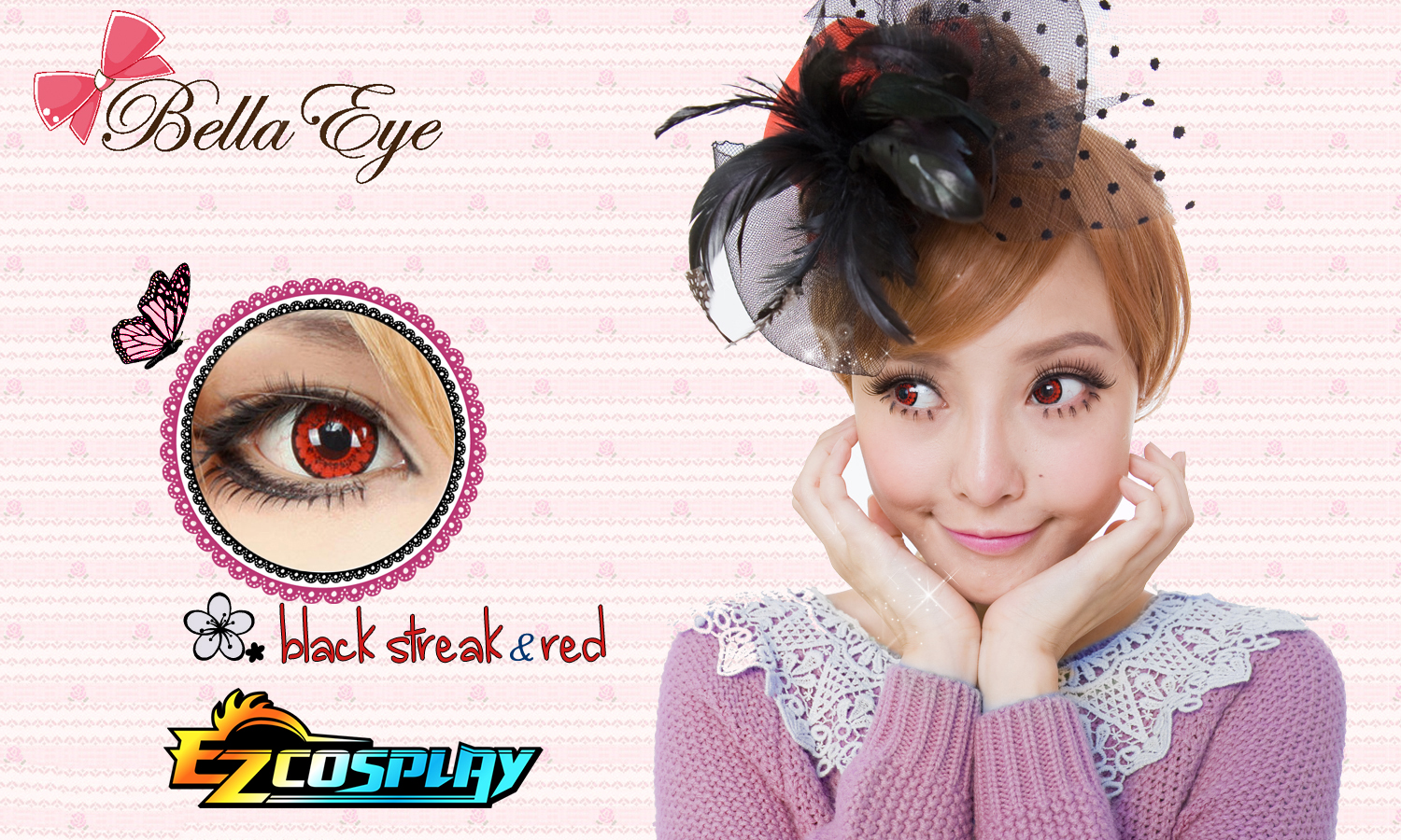 Bella Eye Coscon Black Streck Red 2 Cosplay Contact Lense