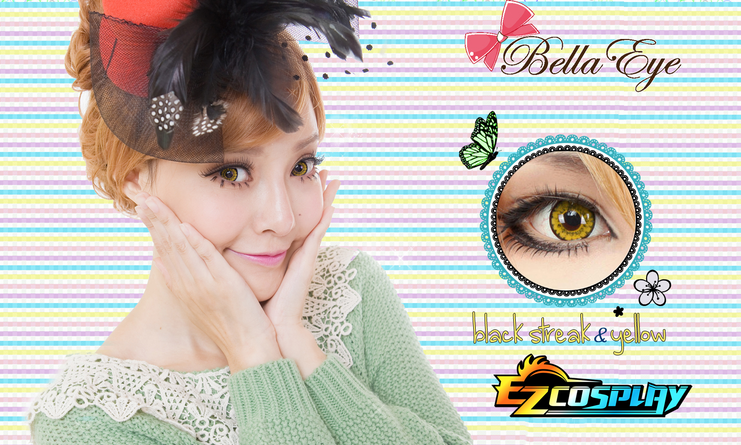 Bella Eye Coscon Black Streck Yellow 1 Cosplay Contact Lense