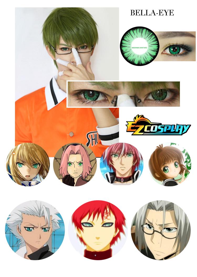Bella Eye Generation of Miracles Kuroko's Basketball Midorima Shintaro Green Cosplay Contact Lense