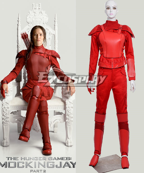 The Hunger Games 3 Mockingjay Katniss Everdeen Cosplay Costume Red Version None
