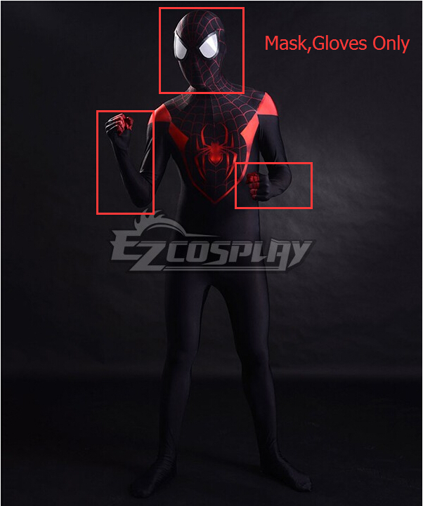 SpiderMan Spider-Man Superhero 3D Printing Ultimate Miles Morales  Cosplay Costume(Mask, Gloves Only) None