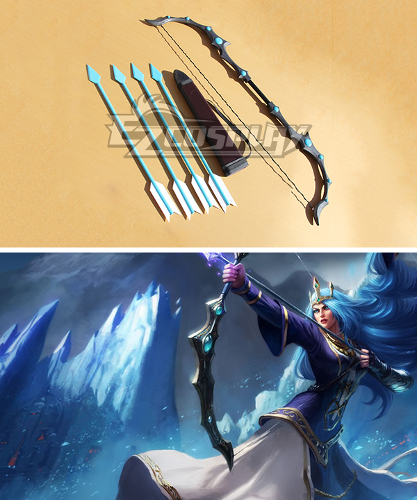 League of Legends Queen Ashe The Frost Archer Bow and arrow Cosplay Weapon Prop