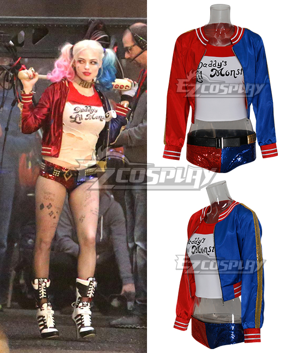 DC Comics New Batman Suicide Squad Harley Quinn Cosplay Costume Outfit