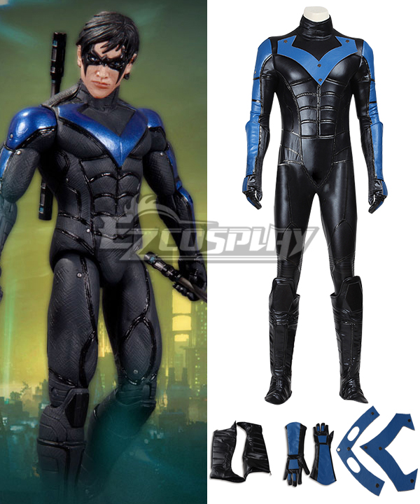 DC Batman Arkham City Nightwing Cosplay Costume