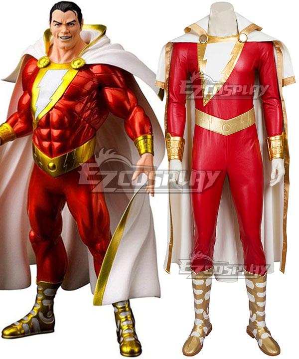 DC Comics Shazam Captain Marvel Billy Batson Cosplay Costume - Including Boots EDCG087