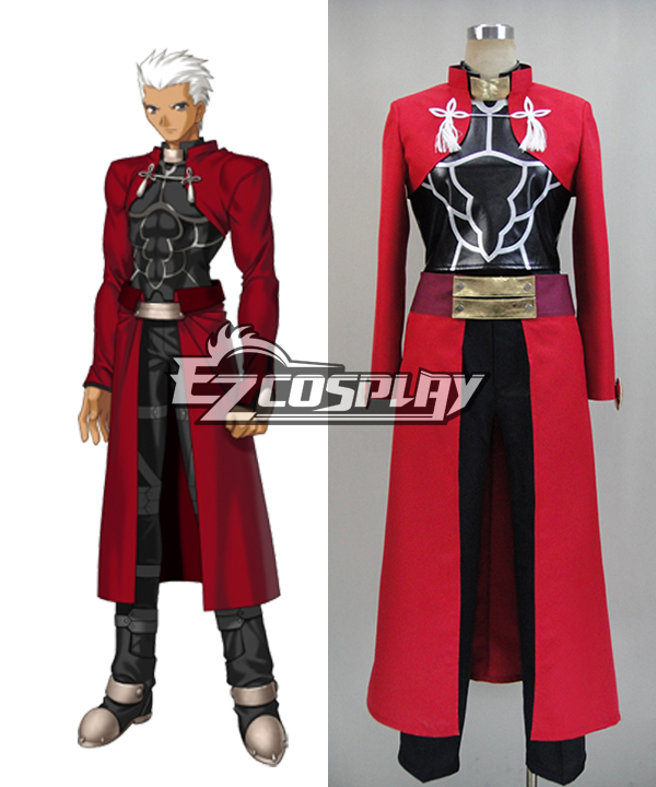 Fate Stay Night: Unlimited Blade Works UBW Archer Cosplay Costume (Red Top Only) None