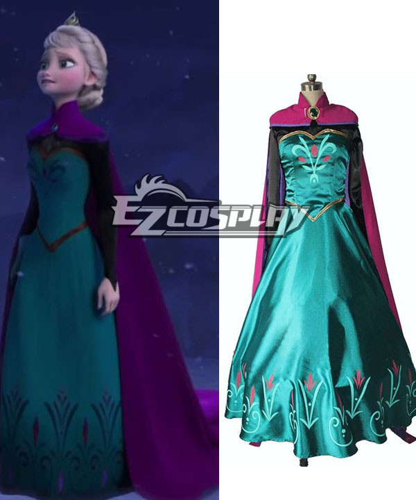 Frozen Snow Queen Elsa Outfit Disney Coronation Dress Cosplay Costume-Standard Ver. None