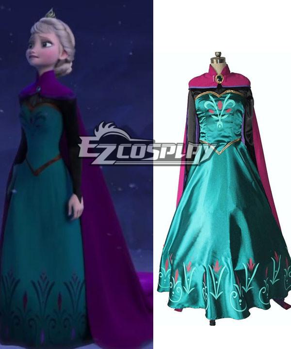 Frozen Snow Queen Elsa Outfit Disney Coronation Dress Cosplay Costume None