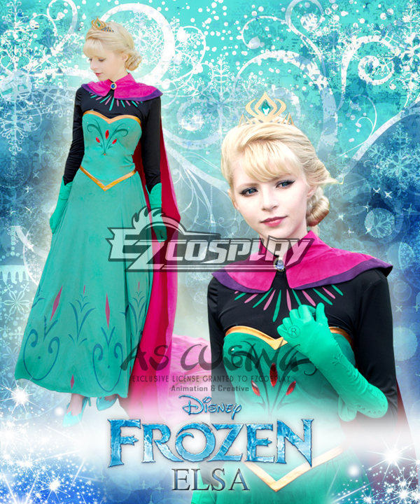 Frozen Elsa Snow Queen Outfit Disney Coronation Dress Cosplay Costume-Deluxe Version None