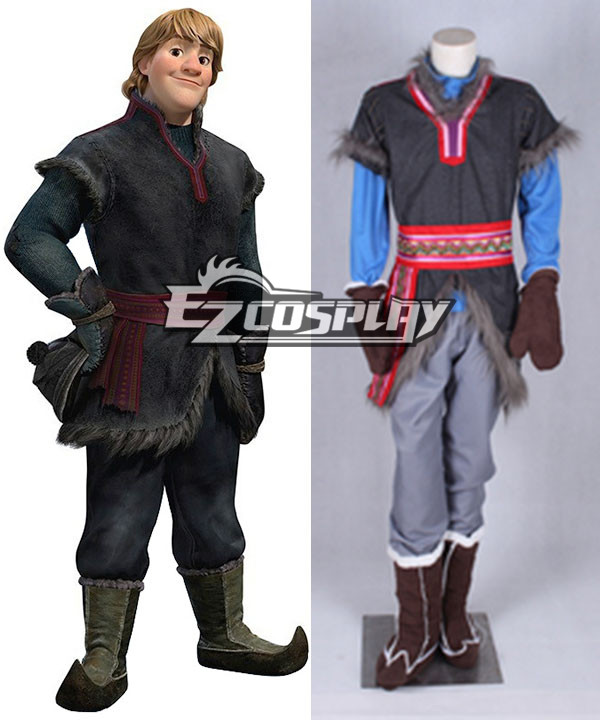 Disney Frozen Kristoff Movie Grey Outfit Full Set Cosplay Costume None