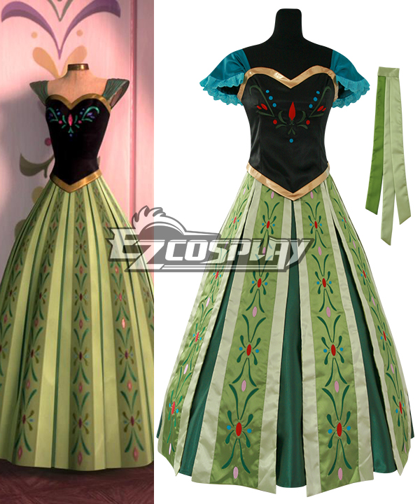 Frozen Anna's Dress on Elsa's Coronation Day Disney Cosplay Costume None