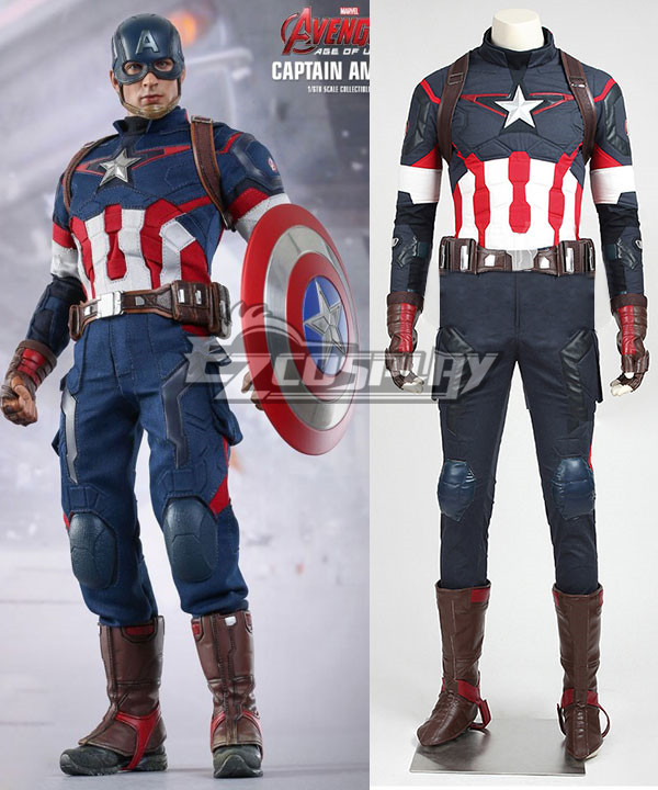 Marvel Avengers: Age of Ultron Captain America Steve Rogers Cosplay Costume Deluxe Version None