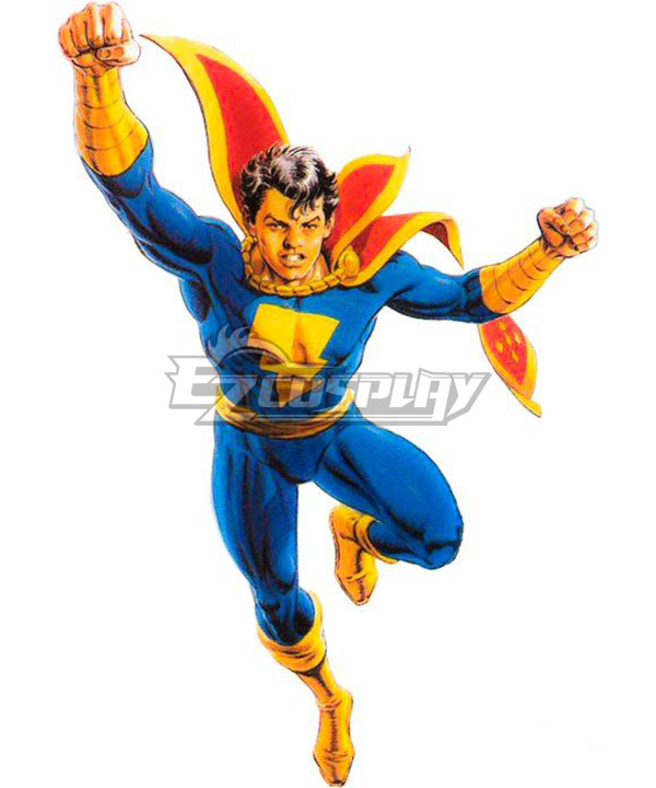 Captain Marvel Jr Freddy Freeman Blue Jumpsuit with Red Cloak Cosplay Costume None