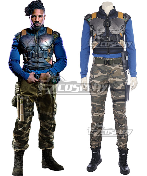 Marvel Movie Black Panther 2018 Erik Killmonger Cosplay Costume None