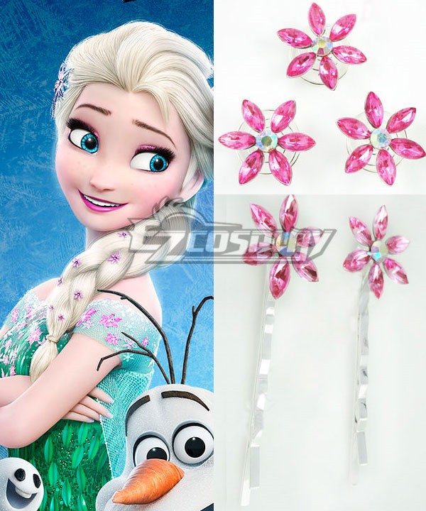 2015 Short Disney Film Frozen Fever Elsa Queen Birthday Party Cosplay Hairpin with 5 Pcs None