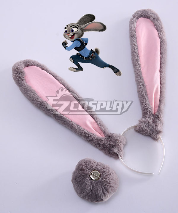 Disney Zootopia Officer Judy Hopps Personify Movie Ears Tail Cosplay Accessory Prop None