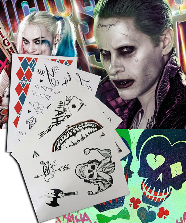 DC Detective Comics Batman Suicide Squad Task Force X Harley Quinn Joker 2016 Movie Tattoos Cosplay Accessory Prop None