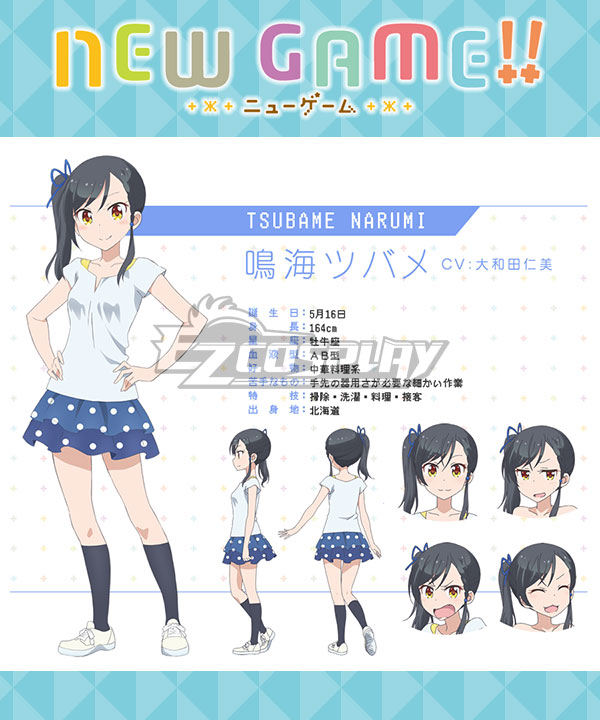 Anime Costumes ENGE011 New Game!! Tsubame Narumi Cosplay Costume