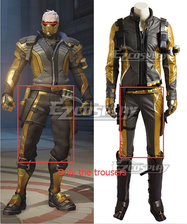 Anime Costumes EOWG054 Overwatch OW Soldier 76 John Jack Morrison Golden Cosplay Costume(Only the Trousers)