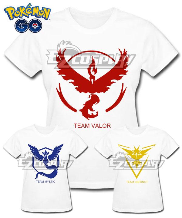 EPK0028 Pokémon GO Pokemon Pocket Monster Team Valor Team Mystic Team Instinct White T-shirt Cosplay Costume